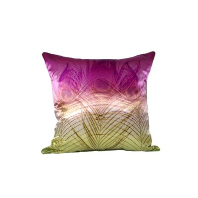 Peacock Satin Throw Pillow (Set of 2) Color: Pink and Gold