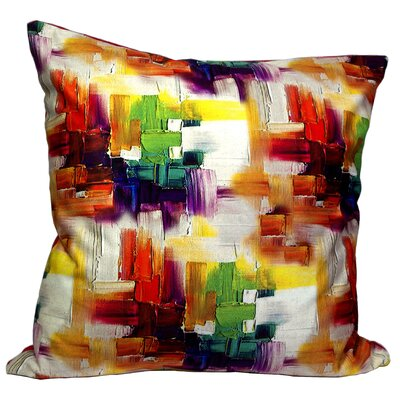 Mirasol Cubism Painting Feather Throw Pillow (Set of 2) Color: Red