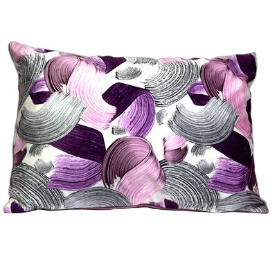 Mirasol Paint Bruch Painting Lumbar Pillow (Set of 2) Color: Purple