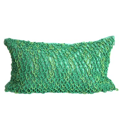 Crazy Loops Beads Linen Throw Pillow Color: Emerald Green