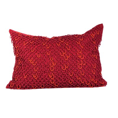 Crazy Loops Beads Linen Throw Pillow Color: True Red