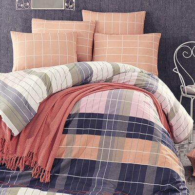 Madison 4 Piece Queen Duvet Cover Set Color: Orange/Blue