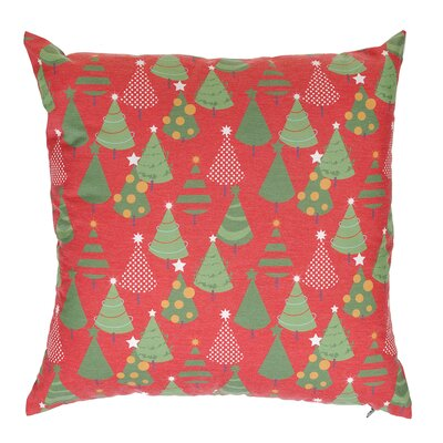 Multi Little Trees Throw Pillow Color: Red
