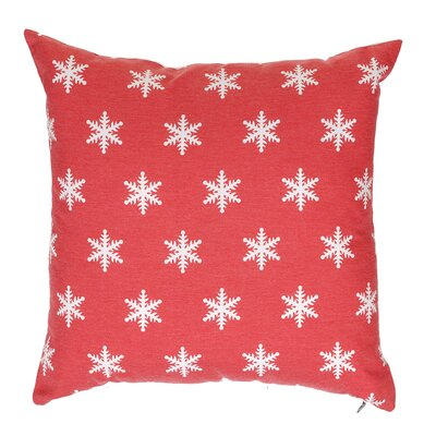 Snow Flakes Throw Pillow Color: Red