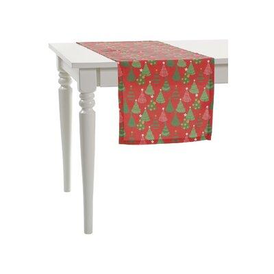 Multi Little Christmas Trees Table Runner Color: Red