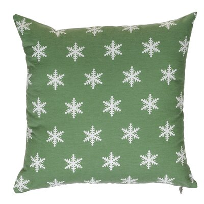 Snow Flakes Throw Pillow Color: Green