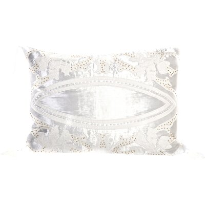 Tudor Velvet Lumbar Pillow Color: White