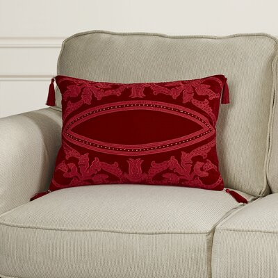 Tudor Velvet Lumbar Pillow Color: Red