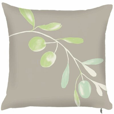 Spring Single Olive Branch Throw Pillow (Set of 2) Color: White