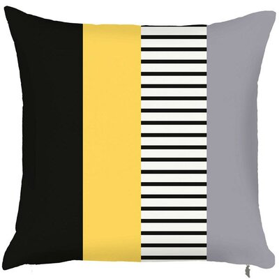 Spring Layered Line Throw Pillow (Set of 2) Color: Yellow