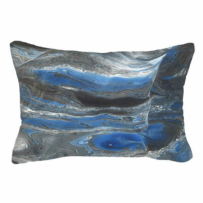 Spring Blended Marble Lumbar Pillow (Set of 2) Color: Blue