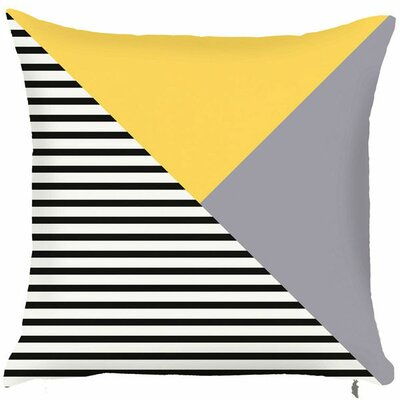 Spring Retro Vivid Lined Triangle Pattern Throw Pillow (Set of 2) Color: Yellow