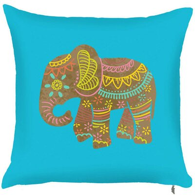 Spring Elephant Throw Pillow (Set of 2) Color: Blue