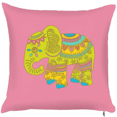 Spring Elephant Throw Pillow (Set of 2) Color: Pink