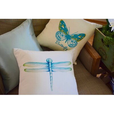 Spring Single Tone Butterfly Throw Pillow (Set of 2) Color: Turquoise