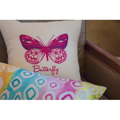 Spring Single Tone Butterfly Throw Pillow (Set of 2) Color: Pink