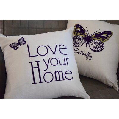 Spring Single Tone Butterfly Throw Pillow (Set of 2) Color: Purple