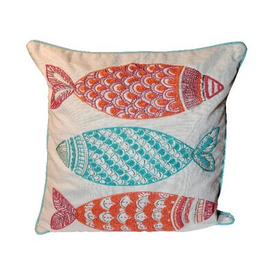 Bartett Three Fishes 100% Cotton Throw Pillow