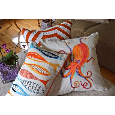Pelican Beaded Octopus 100% Cotton Throw Pillow