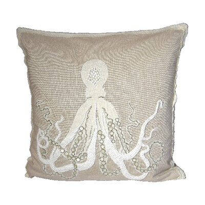 Seafarer Octopus Beaded 100% Cotton Throw Pillow