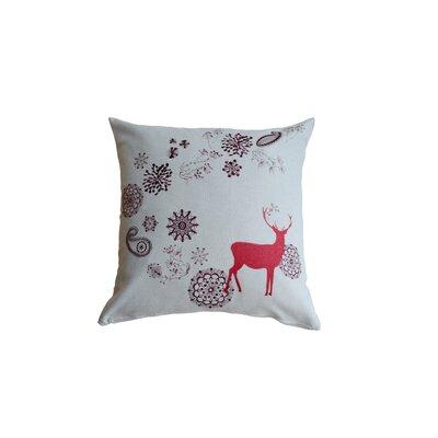 Ten Reindeer 100% Cotton Throw Pillow Color: Red