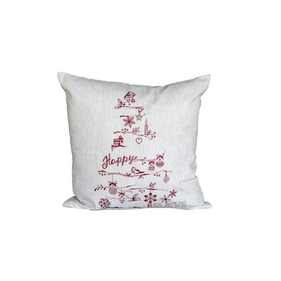 Christmas Tree 100% Cotton Throw Pillow Color: Red