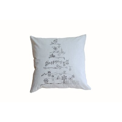 Christmas Tree 100% Cotton Throw Pillow Color: Gray
