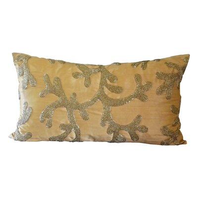 Beaded Coral Silk Lumbar Pillow