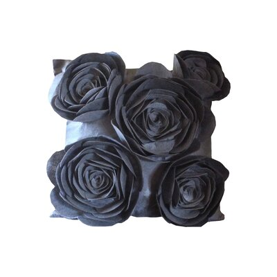Rose Petals Throw Pillow Color: Gray