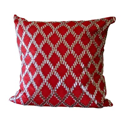 Bling Crystal Diamond Throw Pillow Color: Red