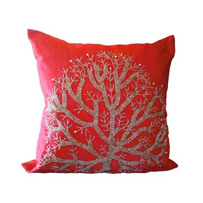 Bling Wild Tree Throw Pillow Color: Red