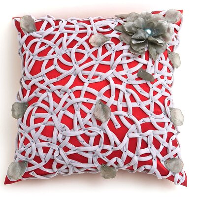 Veranda Tangled Flower Throw Pillow Color: Red