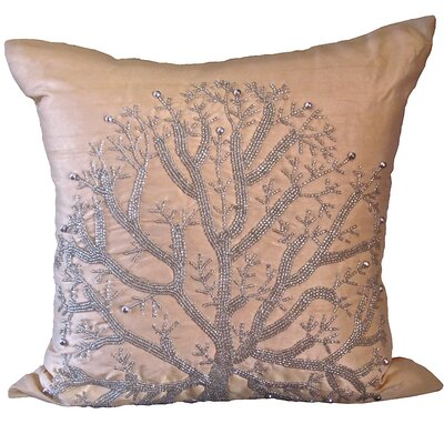 Bling Wild Tree Throw Pillow Color: Champagne