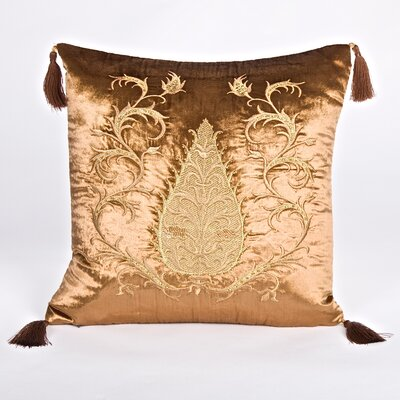 Tudor Climbing Acorn Velvet Throw Pillow Color: Brown