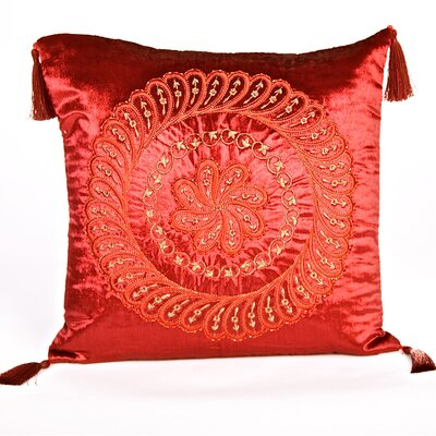 Tudor Velvet Throw Pillow Color: Red