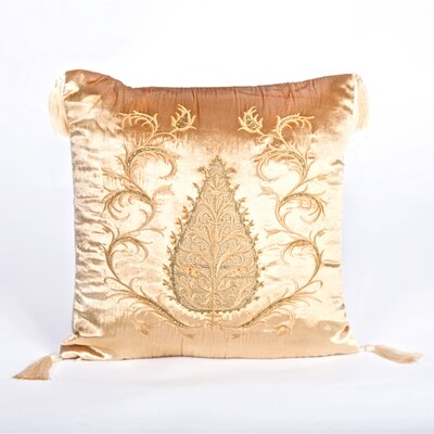 Tudor Climbing Acorn Velvet Throw Pillow Color: Light Gold
