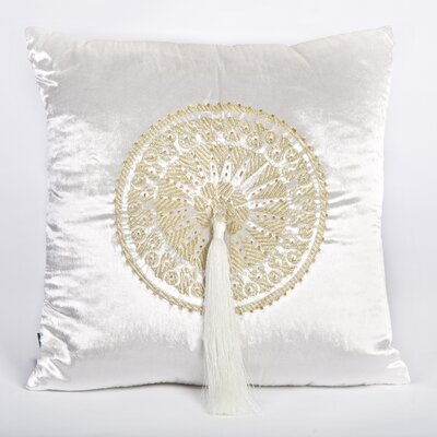 Tudor Velvet Throw Pillow Color: White