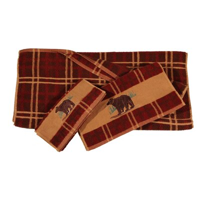 Grotto Bear Embroidered Plaid 3 Piece Towel Set