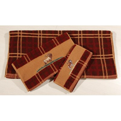 Bartlett Elk Embroidered Plaid 3 Piece Towel Set