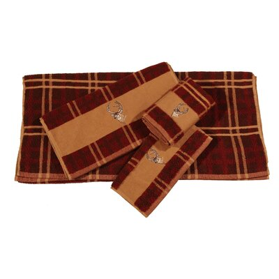 Lynnhaven Deer Embroidered Plaid 3 Piece Towel Set