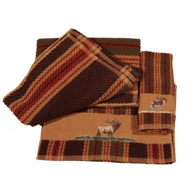 Elk Embroidered Stripe 3 Piece Towel Set