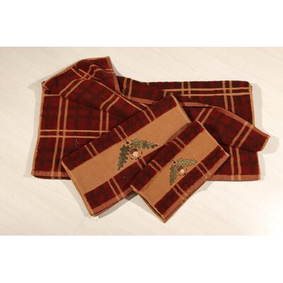 Krause Embroidered Plaid 3 Piece Towel Set