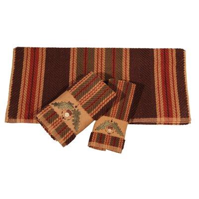 Krause Embroidered Stripe 3 Piece Towel Set