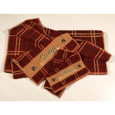 Swiftcurrent Lodge Embroidered Plaid 3 Piece Towel Set