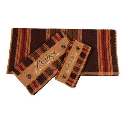 Swiftcurrent Lodge Embroidered Stripe 3 Piece Towel Set
