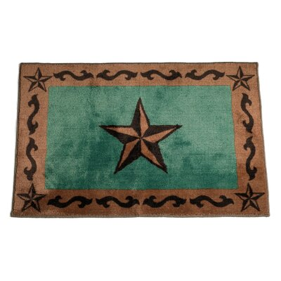 Cahto Star Print Bath Rug Color: Turquoise