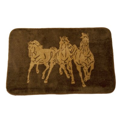 3 Horse Chocolate Area Rug