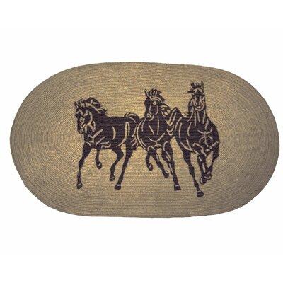Spahn 3 Horse Jute Light Chocolate Area Rug Rug Size: 26 x 42