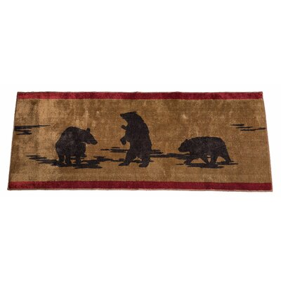 Grotto Bear Rectangle Chocolate Brown Area Rug