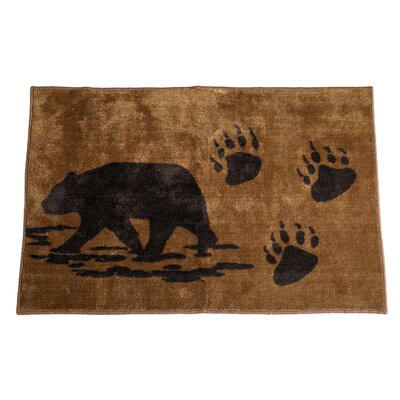 Grotto Bear Chocolate Brown Area Rug